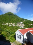 This is a look from Windwardside up to Mount Scenery from the Cottage Club, on Saba.