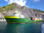 This is the cargo ship that brings food from off-island to Saba; it arrives every Wednesday.