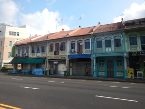 Gorgeous facades on Sim St. in Geylang, Singapore.